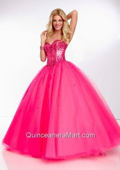 2014 Popular Hot Pink Quinceanera Dress with Beading and Sequins