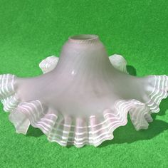 French Antique Pink  JuponFrilly Edge Art Deco Glass flower Ceiling Lightshade
