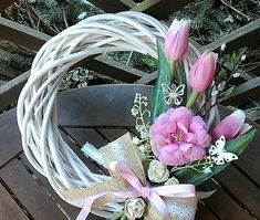 Spring White And Pink Wreath