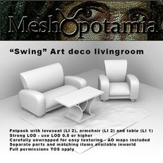 Fatpack with loveseat armchair table and rug (LI Strong LOD, use LOD or higher Carefully unwrapped for easy texturi. Full Set, Love Seat, Armchair, Art Deco, Living Room, Home Decor, Sofa Chair, Decoration Home, Room Decor