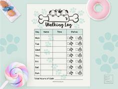graphic regarding Printable Walking Log titled 9 Easiest Printable Doggy Going for walks Log Printable Household Pet Waking