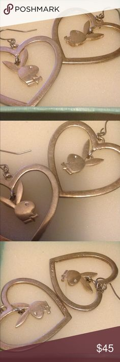 Solid Silver playboy earrings Beautiful pair of solid silver playboy earrings! Just the right size not real heavy! Need a good cleaning! Has smudges and scratches! Still very sexy and eye catching! Has the playboy trademark on each earring! Thanks playboy Jewelry Earrings