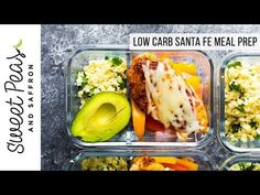 Santa Fe chicken low carb meal prep has cilantro lime cauliflower rice and bell peppers topped with seasoned chicken breast and cheese! 8 g net carbs. Lunch Meal Prep, Meal Prep Bowls, Healthy Meal Prep, Healthy Eating, Healthy Food, Clean Recipes, Low Carb Recipes, Diet Recipes, Cooking Recipes