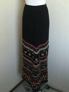 Double D Ranch size S black linen blend floral embroidery knit long skirt  #DoubleDRanch #Maxi