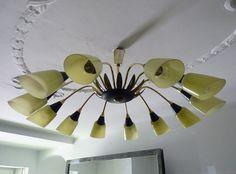 SALE XXL Mid Century SPUTNIK chandelier lamp Stilnovo by artrelict