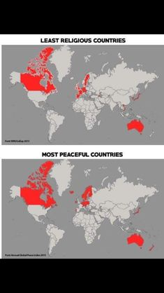 Maps of least religious and also most peaceful countries