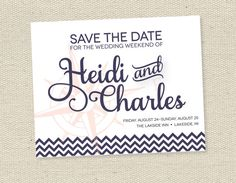 Print Your Own Nautical Save The Date Cards, Wedding Invitations, DIY, Printable
