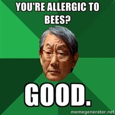 High Expectations Asian Father - You're allergic to bees? good.