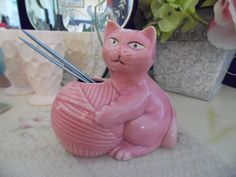 Vintage Pink Ceramic Cat Holding Yarn and Knitting by MadGirlRetro