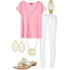 Summer preppy outfit by perfectlypreppy15 on Polyvore featuring polyvore, fashion, style, H&M, Denim & Supply by Ralph Lauren, Jack Rogers, Kendra Scott and Kate Spade