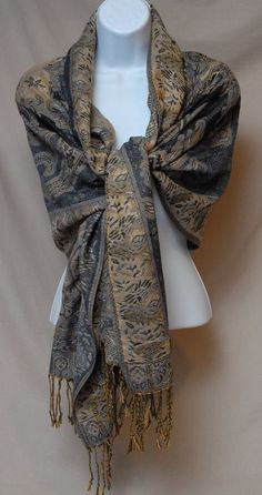 Metallic Fringe Soft Wrap Shawl Scarf Floral Print Gold Gray Black New
