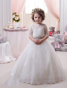 Wishesbridal Half Sleeve O Neck Floor Length White #Tulle Ball Gown #Flower Girl Dress B3pe0018