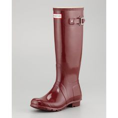 Women's Hunter Boot Original Tall Glossy Welly Boot, Merlot ❤ liked on Polyvore
