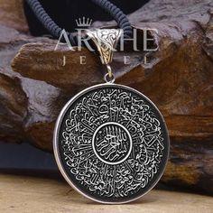 Ayet'el-Kürsi Yazılı Gümüş Kolye - Arkhe Jewel Jaba, Pendant Necklace, Silver, Jewelry, Jewlery, Jewerly, Schmuck, Jewels, Jewelery