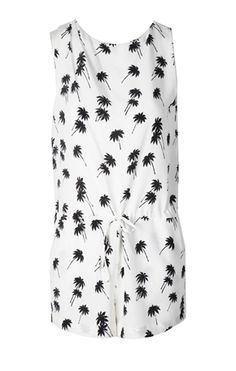 Oxygen | Band of Outsiders Halter Romper Silk Palm Tree  http://www.oxygenboutique.com/Halter-Romper-Silk-Palm-Tree.aspx  #BandofOutsiders #print #palmtree #romper #silk #ootd #holiday #fashion