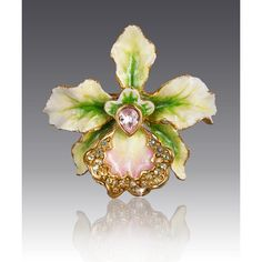 Jay Strongwater Anita Orchid Pin (200 CAD) ❤ liked on Polyvore featuring jewelry, brooches, green, pin brooch, jay strongwater, green jewelry, pin jewelry and jay strongwater jewelry
