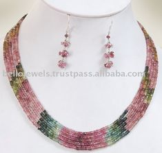 beaded jewelry | Designer Tourmaline Gemstone Necklace Set - Beaded Jewelry Wholesale ...