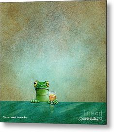 Frog Metal Print featuring the painting Rum And Croak. by Will Bullas Whiskey Room, Bar Art, Aluminium Sheet, Art Studies, Got Print, Any Images, Adorable Animals, Frogs, High Gloss