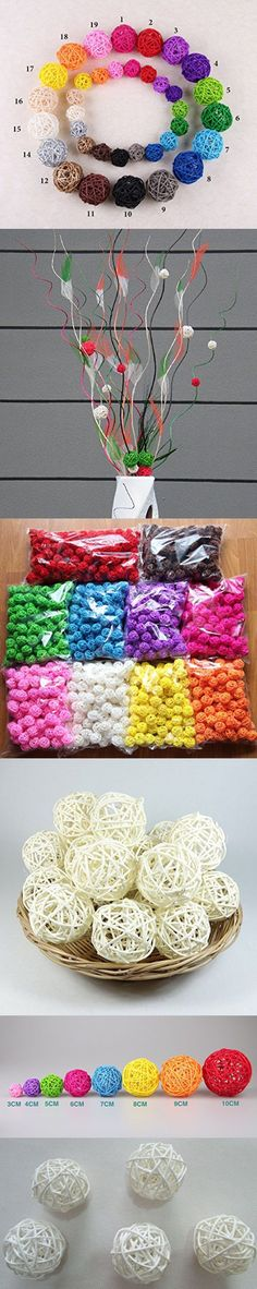 10pcs Handmade Wicker Rattan Balls, Garden, Wedding, Party Decorative Crafts, Vase Fillers, Rabbits, Parrot, Bird Toys (3CM, 15# White)