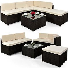 buy now   									£379.99 									  									 The 16 piece sofa set made of polyrattan captivates by its variety of combination possibilities. Every single component stands freely and may be moved according to your requests.  ...Read More