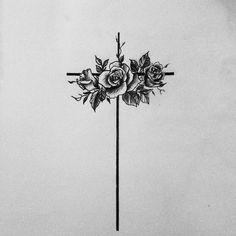 Cross flowers religious tattoo girly meaningfull