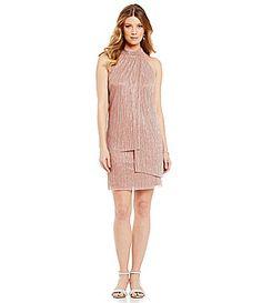 082f23bbe5e London Times Crinkle Metallic Trapeze Dress  Dillards Dillards