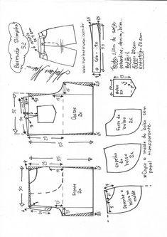 Bermuda simples – Marlene Mukai Dress Sewing Patterns, Sewing Patterns Free, Clothing Patterns, Pattern Sewing, Free Pattern, Como Fazer Short, Costura Fashion, Sewing Clothes Women, Sewing Blouses