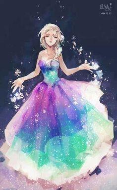 Elsa com um vestido colorido