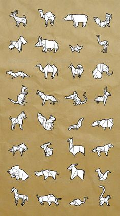 Vectors - Hand-Drawn Origami Animals Set | GraphicRiver
