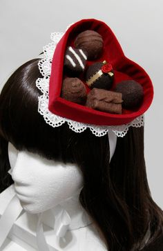 Red Velvet Valentines Day Chocolate Candy Heart Box Gothic and Lolita Hat - Made to Order. $60.00, via Etsy.
