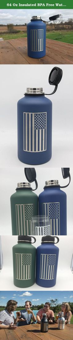 64 Oz Insulated BPA Free Water Bottle | Stainless Steel Beer Growler Decorated w/ the American Flag. All Beer City Glass Insulated Beer Growlers and Insulated Water Bottles are made of premium food grade double walled 18/8 stainless steel • Travel Friendly and durable Canteen that displays the American Flag • Easy cleaning, dishwasher safe, durable, maintenance free • Here at Beer City Glass we decorate all our products at our factory in Grand Rapids Michigan.