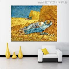 Famous Painting Decorative Posters and Prints Wall Art Canvas Painting Van Gogh's The Siesta Wall Pictures for Living Room Decor Vincent Van Gogh, Van Gogh Prints, Painting Prints, Wall Art Prints, Famous Landscape Paintings, Painted Vans, Van Gogh Paintings, Cool Artwork, Picture Wall