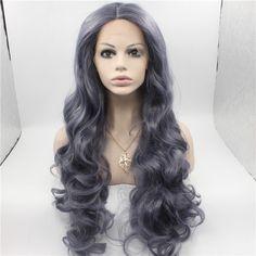 Tienda Online Sf3 ondulado peluca de color gris largo del frente del cordón  peluca sintética ondulada de la fibra japonesa Kanekalon resistente al calor  ... 2b23ed3e9e55