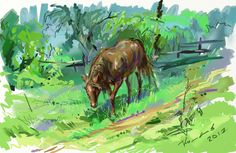 Лошадь.  Худ. Комаров. Цифровая живопись