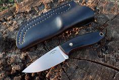 Edc Knife. M 390 Steel. 85 mm blade length. Hand satin finish. Black linen micarta handle. Leather sheath. Knife is sold. #afonchenkoknives…