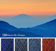 'Mountain Sunrise' color palette featuring our flyWHEEL yarn in Aquifer, Bancroft, Cheshire, and Monarch.