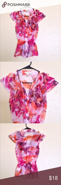 ❤️Forever 21 Floral Top❤️ Excellent condition. No rips, stains or tears. Chiffon material. Size small, button up ruffle neck line! Super cute, business casual. Forever 21 Tops Blouses