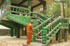 Wat Pa Maha Chedi Kaew temple, Thailand.  Made almost entirely out of glass bottles.