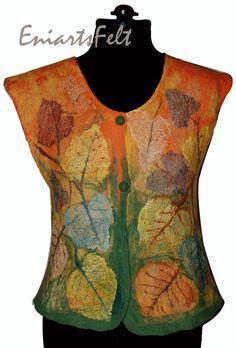 Unique nuno felt vest with autumn leaves design, Felt fashion, Nuno/wet felt vest, Felt garment, Felt art clothing, Textile art, OOAK