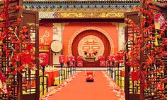 Main backdrop is interesting - dual circular, with red fabric background Chinese Party, Japanese Party, Chinese Theme, Asian Party, Asian Wedding Themes, Chinese Wedding Decor, Oriental Wedding, Wedding Ideas, Backdrop Decorations