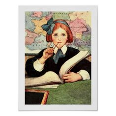 "Teacher Appreciation Day / Teacher Appreciation Week / Graduation / Thank You Teacher Vintage Design Gift Posters for Teachers with a vintage magazine illustration. ""The Scholar"" , magazine illustration by Jessie Wilcox Smith , circa 1908. Matching cards, postage stamps and other products available in the Business / Occupation Specific Category of the ""Old & Classic"" Store at Zazzle"