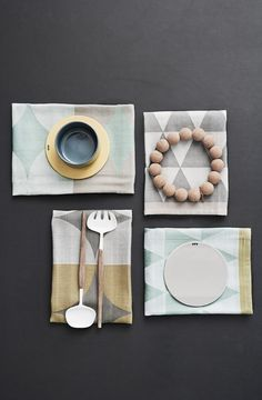 Frem Living: tea towel tissé Jaquard + platters
