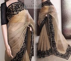 Embroidered Supernet Saree