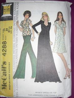 "Vintage 1970s sewing pattern McCall's 4288 size 12 bust 34"" dress or top 