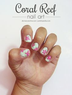 Bring the sea to you with this coral reef mani! #nailart #summernails