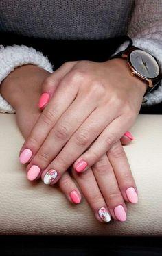 #nails #semilac #peach #flower #hybryda #paznokcie