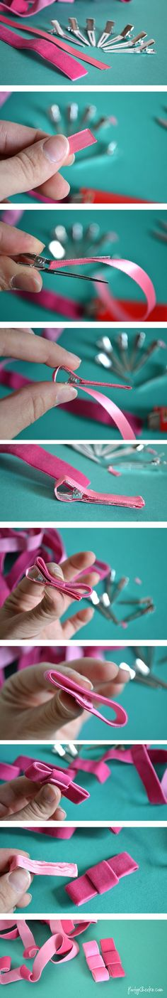 Pinzas pelo fáciles y sin coser - Super simple no-sew bow clip tutorial!