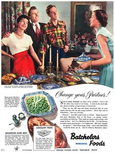 Savoury Peas (1951).  Fried in bacon fat  with onion rings, to serve before an exciting evening of square dancing with the gay young Lawsons.   A Change Your Partner Party!  Mrs. Lawson, in the red skirt, seems very eager indeed to change partners.
