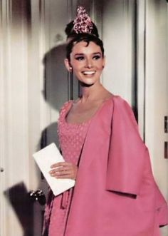 Audrey Hepburn, Breakfast at tiffany's outfits | Breakfast at Tiffany's, pink party dress | sparkle party