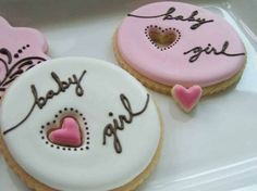 baby shower sugar cookies. it's a girl!